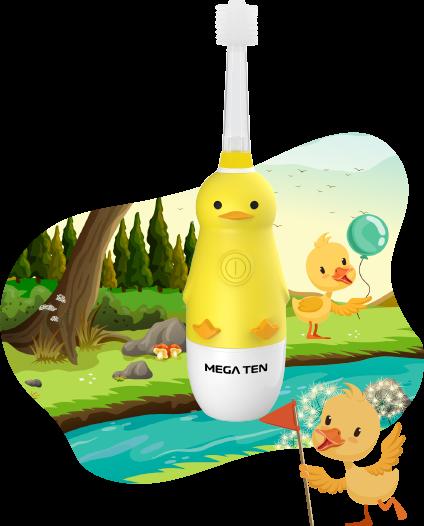 Детская электрическая зубная щётка MEGA TEN KIDS SONIC (Утёнок)