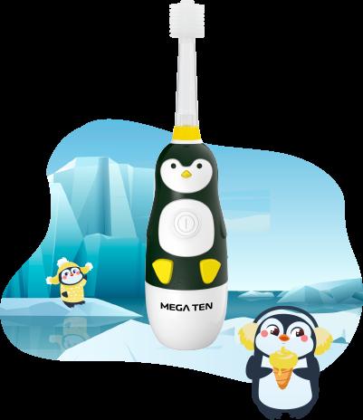 Детская электрическая зубная щётка MEGA TEN KIDS SONIC (Пингвинёнок)