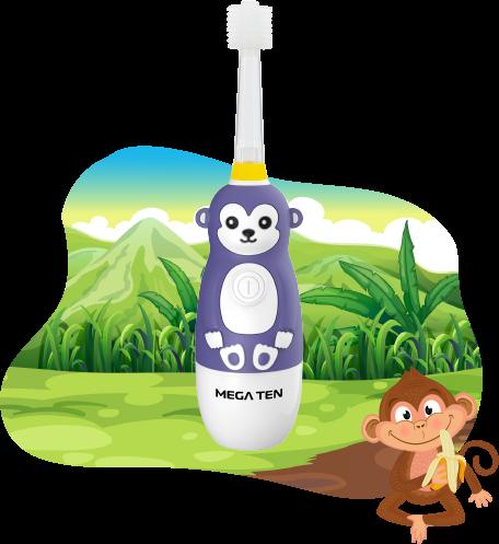Детская электрическая зубная щётка MEGA TEN KIDS SONIC (Обезьянка)