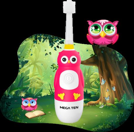 Детская электрическая зубная щётка MEGA TEN KIDS SONIC (Совушка)